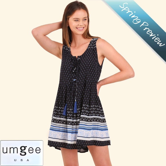 986b59667ba Umgee Dresses   Lizzie Sleeveless Peasant Dress W Tassel Tie   Poshmark